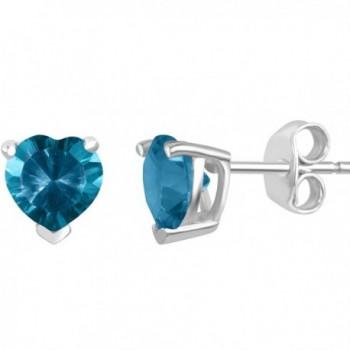 Sterling Silver Concave Heart-Shaped Gemstone Stud Earrings - Blue Topaz - CF12O6RTD4O