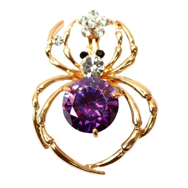 Navachi 18k Gold Plated Purple Zircon Crystal Spider Brooch Pin - CW11SKHT6GL