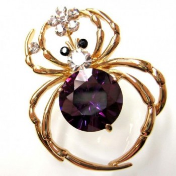 Navachi Plated Purple Zircon Crystal in Women's Brooches & Pins
