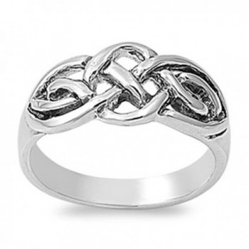Sterling Silver Women's Celtic Fashion Ring Unique 925 New Band 9mm Sizes 4-10 - C611GQ4BU1T