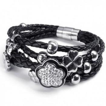 KONOV Stainless Steel Flower Charms Braided Leather Women's Bracelet- White Silver Black - CD11FJG837T