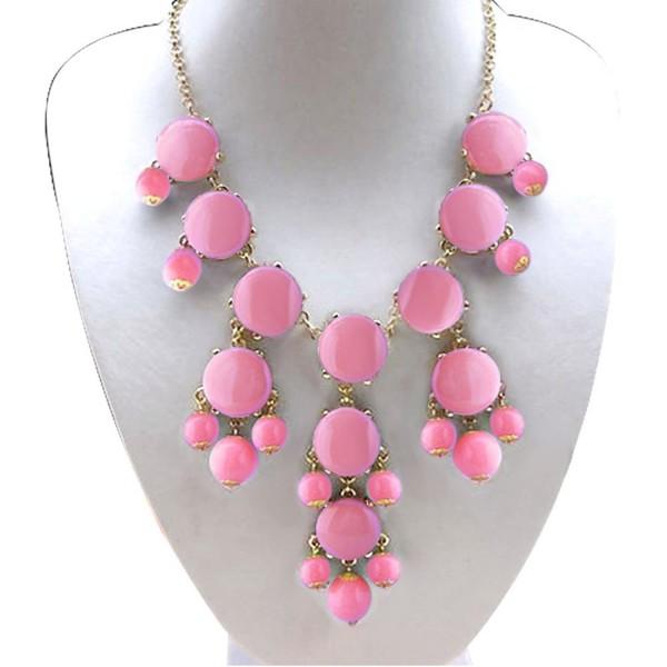 LuckyJewelry Vintage Women Choker Chunky Statement Bib Pendant Trendy Bohemian Turkish Necklace - Pink - CS12J3WGWDL