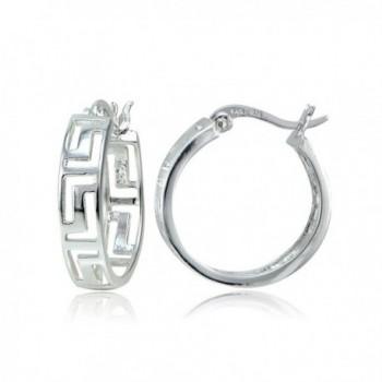 Sterling Silver Greek Key 20mm Round Hoop Earrings - Sterling Silver - C812L45Q9HJ