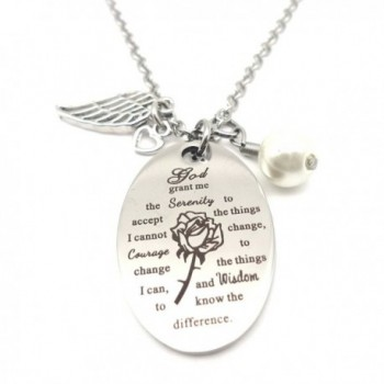 God Grant Me the Serenity to Accept the .... Bible Verse Prayer Necklace with Free Chain Christian - C4188CWD5AM