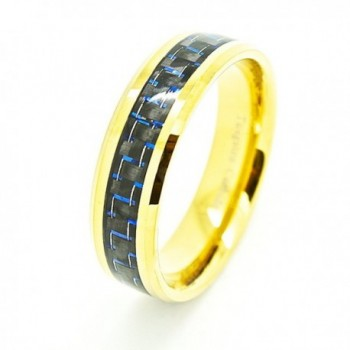 8mm Golden Colored Tungsten Wedding Band with Blue & Black Carbon Fiber Inlay - C711EZ8B96J