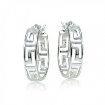 Sterling Silver Greek Round Earrings