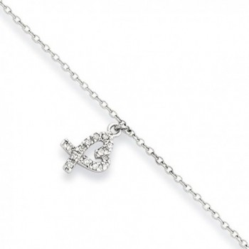 Black Bow Jewelry Rhodium-Plated Sterling Silver & CZ Heart Charm Anklet- 10-11 Inch - CY119E3KFLF
