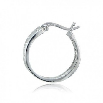 Sterling Silver Greek Round Earrings in Women's Hoop Earrings