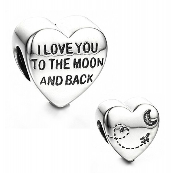 """Best Wing Jewelry .925 Sterling Silver """"I Love You to the Moon and Back"""" Charm Bead - C712BI98YVZ"""
