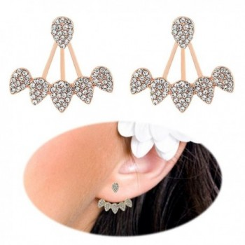 Crawler Earrings Climber Chandelier Rhinestone - Rose Gold - CL17Z78GEGM