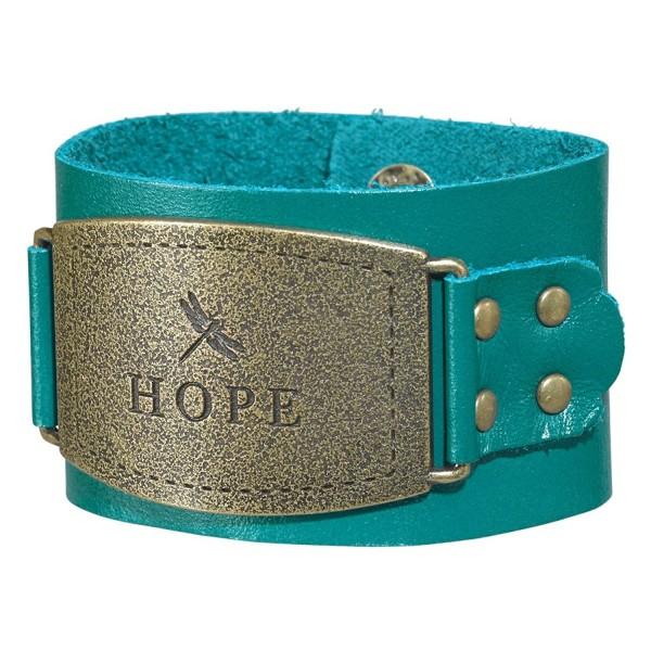 "Ladies Leather Christian Cuff Wristband w/""Hope"" Buckle - C911OQBDCW9"