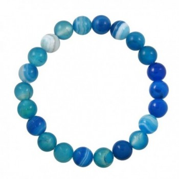 Falari 8mm Natural Semi Precious Gemstone Stretch Bracelet Unisex - Blue Agate - CJ12K3XHDOL