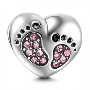 Footprint Sterling Silver Family Bracelet - Pink - CI184RQ50MI