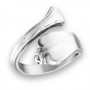 Vintage Victorian Style Spoon Open Thumb Ring Stainless Steel Band Sizes 7-10 - C81824Z5S9W