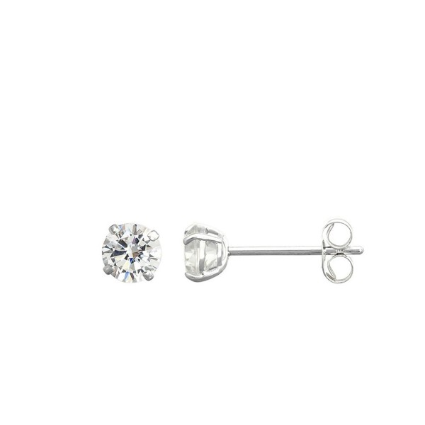 14K White Gold Round Cubic Zirconia (CZ) Double Basket Push Back Stud Earrings - 2 mm to 10 mm - CC11OREEFOT