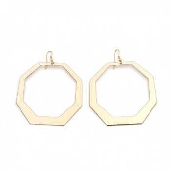 Large Gold-Plated Hoop Earrings Geometric Dangle Earrings For Women - CQ188Q504KM