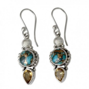 NOVICA Citrine Reconstituted Turquoise .925 Sterling Silver Dangle Earrings 'Summer Sunset' - CT12DUHU4VV