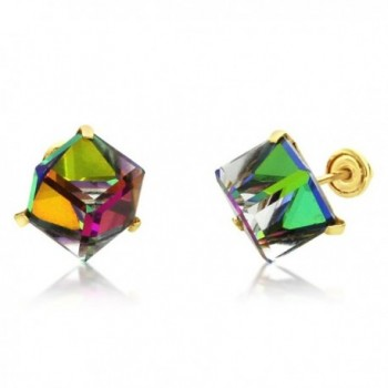 14K Yellow Gold Multi Color Crystal Cube Stud Earrings Screwback ( Available 5mm- 6mm ) - CY12O1UMPLD