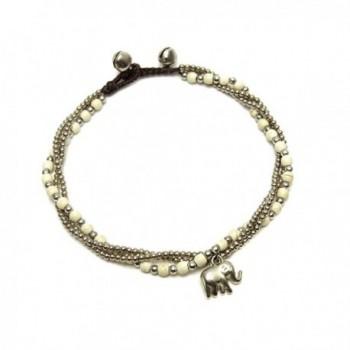 Elephant Jewelry for Women Boho Ankle Bracelet White Howlite Beaded Silver-tone Bell Charm - C012NUSZSDE