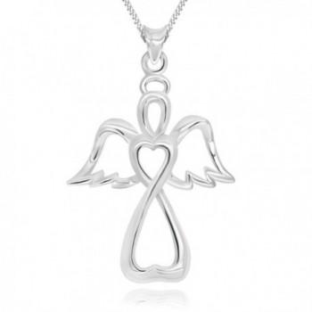 "925 Sterling Silver Guardian Angel Cross Pendant Necklace- 18"" - C917YZHTRE7"