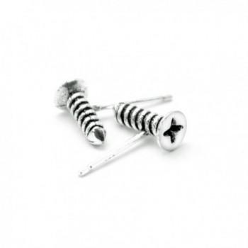 BC 925 Sterling Silver Screw Fashion Unique Gothic Rock Hip-hop Unisex Stud Earrings - CV1867DYSOX