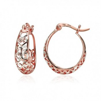 Sterling Silver Diamond-cut Filigree Swirl Small Hoop Earrings - Rose Gold Flashed - CQ189IZ7TG8