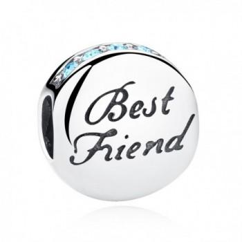 925 Sterling Silver Best Friend Heart BFF Charm Beads Heart Friendship Bead Charms Fit European Bracelets - CS184T4XN95