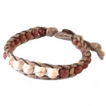 Thai Asian Fashion Handmade Bracelet Hemp String Brass Wood Beads Howlite Brown Gold White - CM12HUTU8K7