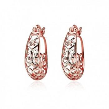 Sterling Two Tone Diamond cut Filigree Earrings