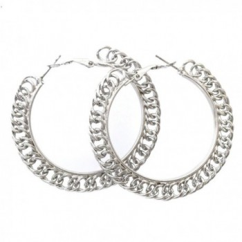 Simple Chain Link Smooth Large Silver Tone Hoop Earrings - C811XSIMFFL