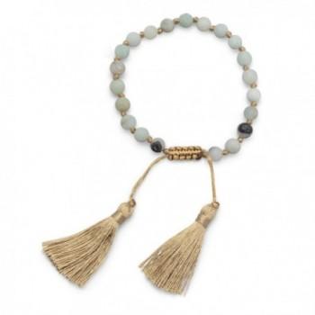DennyBlaine & Co. Amazonite Matte Beads with Silk Gold Tassel Adjustable Bracelet - CA12O18XC96