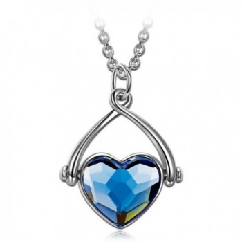 "J.NINA ""Swing Of Love"" Made with Denim Blue Swarovski Crystals- Women Pendant Necklace - CS12O3BVD70"