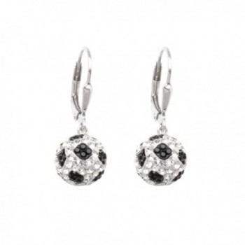 Soccer Ball Earrings Sterling Silver with Sparkling Crystal - 3D - C012OCCWGJ2