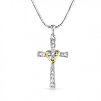 Pave CZ Heart Cross Pendant Rhodium and Gold Plated Necklace 16 Inches - CU11D22DOML