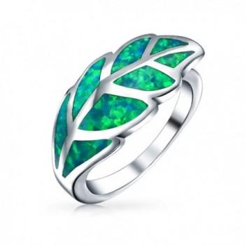 Bling Jewelry .925 Silver Green Opal Leaf Motif Ring - CV189I775A7
