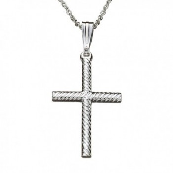 Sterling Silver Rope Cross Pendant Cable Chain Necklace Italy - CI12O80ONDP
