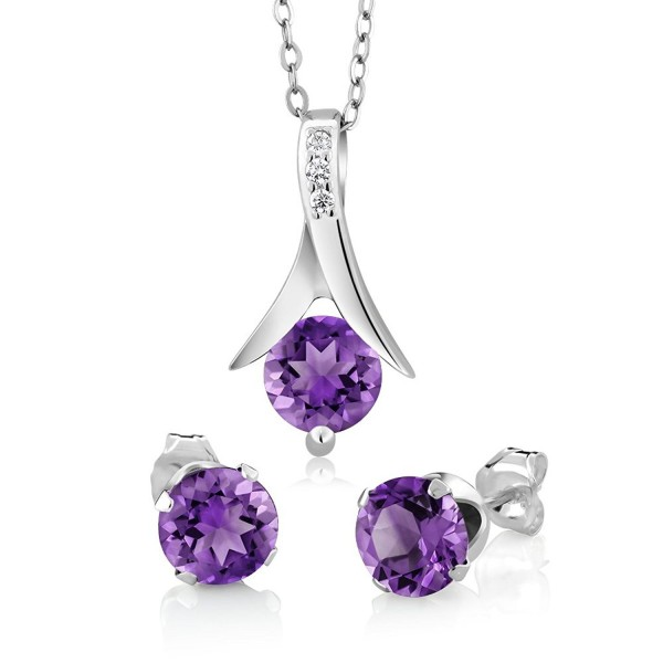 "Amethyst 925 Sterling Silver Round Cut Earrings Pendant Set 2.25 Carat with 18"" Silver Chain - CW115QLFQ5T"