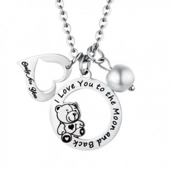 Love Heart Bear Charm Pendant Necklace Jewelry Gift for Women Girls - CU1802AZRIE