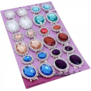Trendy Flat Round and Oval with Clear Crystal and Color Rhinestones Clip-on Earrings - CY12O6TK752