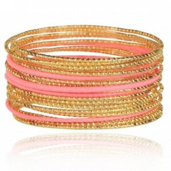 Lux Accessories stone Cut Metal Textured Bangle Set - Pink - CH11IR40VF7