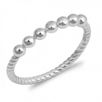 Ball Bead Stackable Ring New .925 Sterling Silver Rope Twist Band Sizes 4-10 - CL12NAJ7HKY