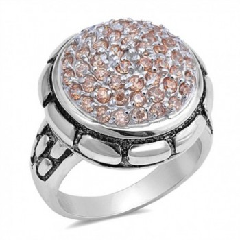 Large Round Champagne Simulated CZ Fashion Ring New .925 Sterling Silver Band Sizes 6-10 - CL12O20D2KQ