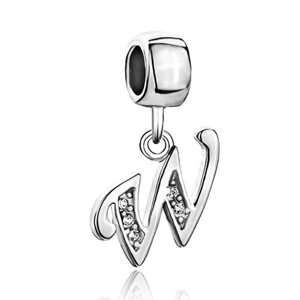 Letter W Charms for Bracelet Clear Crystal Dangle Alphabet Beads - CL11ZNJOM63