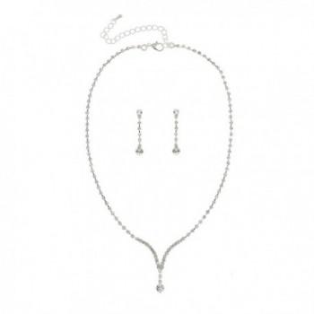 Bridal Wedding Bridesmaid Rhinestone Crystal Necklace Earrings Set N218 - C611FLRN9ZR