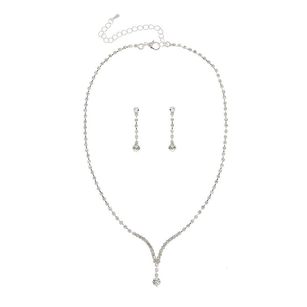 Bridal Wedding Bridesmaid Rhinestone Crystal Necklace Earrings Set N218 - C611FLRN9ZR