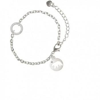 "Bear Silhouette - Fearless Strong Brave Ring Zoe Bracelet- 8"" - CE12NESH42T"