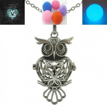 Vintage Silver / Glow in the Dark / Owl Locket Necklace for Essential Oils Perfume Diffuser Necklace - CD12E91X3E7