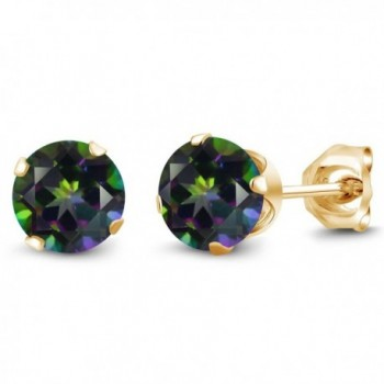 2.00 Ct Round Green Mystic Topaz Gold Plated Silver 4-prong Stud Earrings 6mm - CG1174K2SGZ