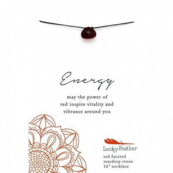 "Lucky Feather Color Power ""Energy"" Red Faceted Teardrop Stone Pendant 16 in. Necklace - CL12I6Z8NV5"