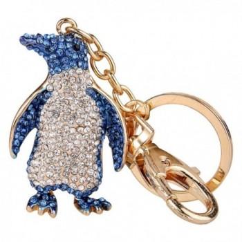 EVER FAITH Women's Austrian Crystal Lovely Penguin Animal Keychain Gold-Tone - Blue - C911EZSHFPN